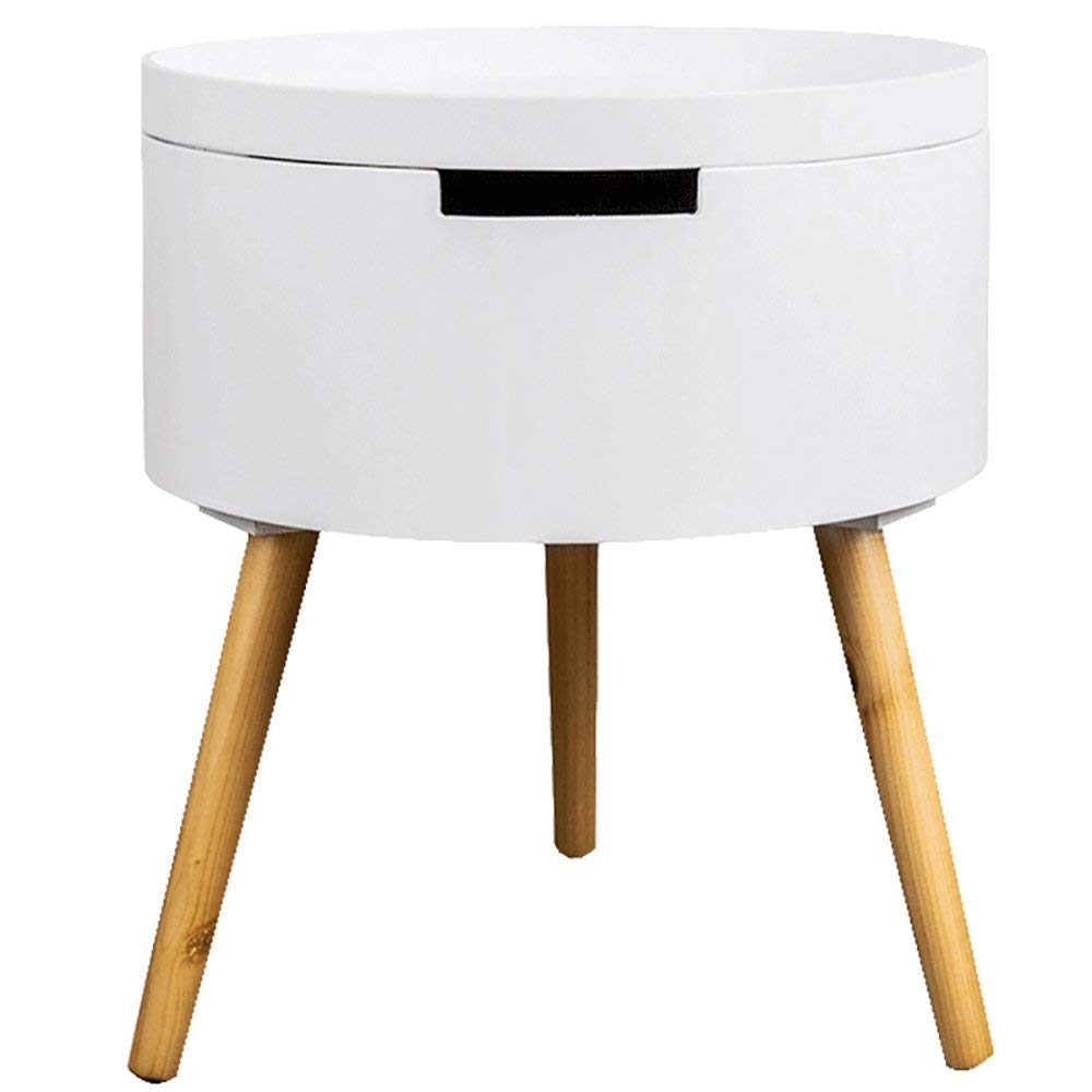 White Wood Side End Table Nightstand with Storage Drawer Solid Wood Legs Living Room Furniture