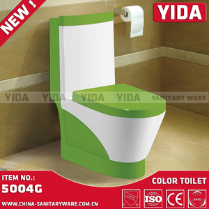 Green and white color S-trap/P-trap excellent quality flushing ceramic color toilet