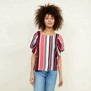 Guangzhou OEM Factory 100% Viscose Women Stripe Short-Sleeves T-shirts Ladies