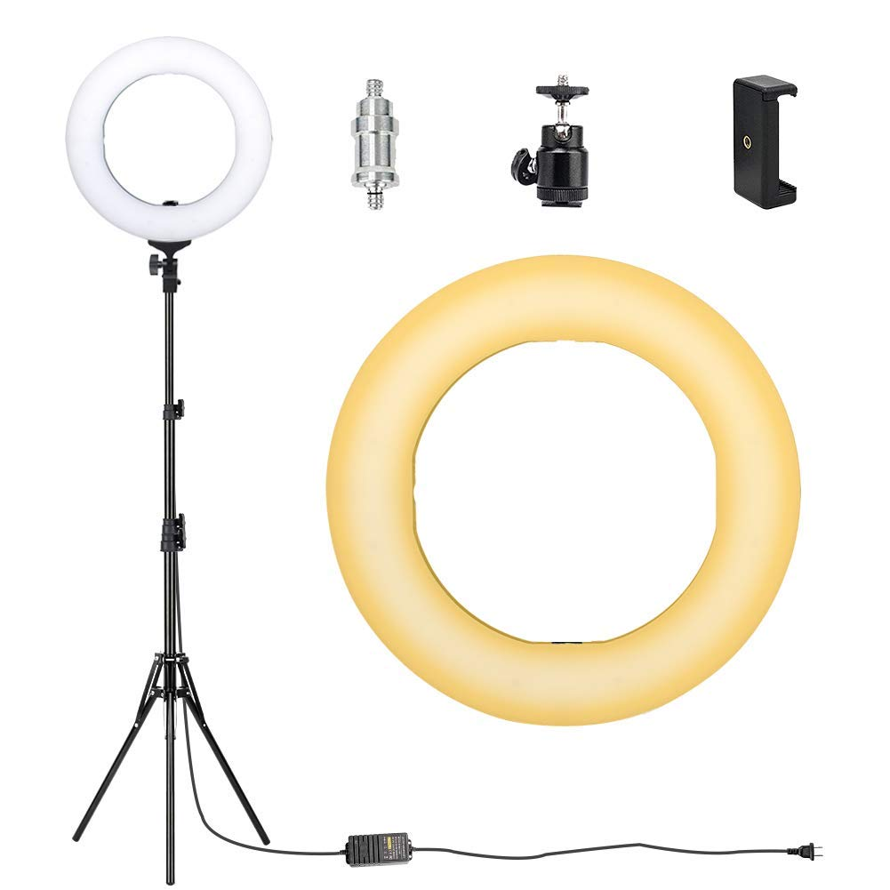 ZoMei Camera Photo Video Lighting Kit 14 inch Dimmable LED Ring Light with Stand & Color Temperature Hot Shoe for Portrait YouTube Video Shooting