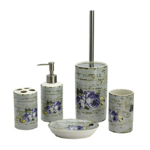 BX group 5 pcs flower design porcelain decal bath accessory set, decal ceramic bathroom accessories bath sanitary sets