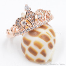 DSC438 High Quality Rings Jewelry Women Wholesale Princess Gold Crown Ring Wth Stones