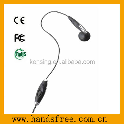 Single earbud handsfree with PTT button and volume control for all kind of mobile phone