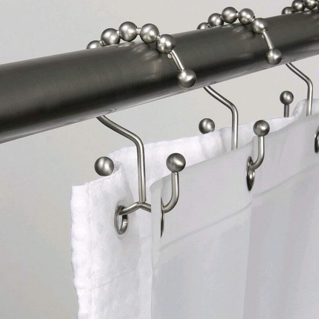 Demana Ganchos para cortina de ducha anillos de cortina de acero inoxidable inoxidable resistente al /óxido ganchos para cortina de ventana y cortina de ducha paquete de 12