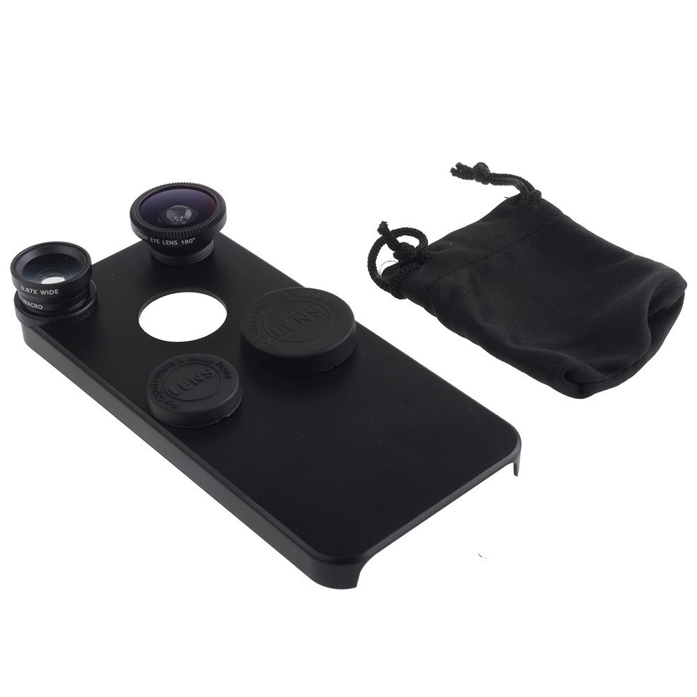 Neewer 3-in-1 Fish Eye Lens+Wide Angle Lens+Macro Lens Kit for Apple iPhone 5/5S (Black)