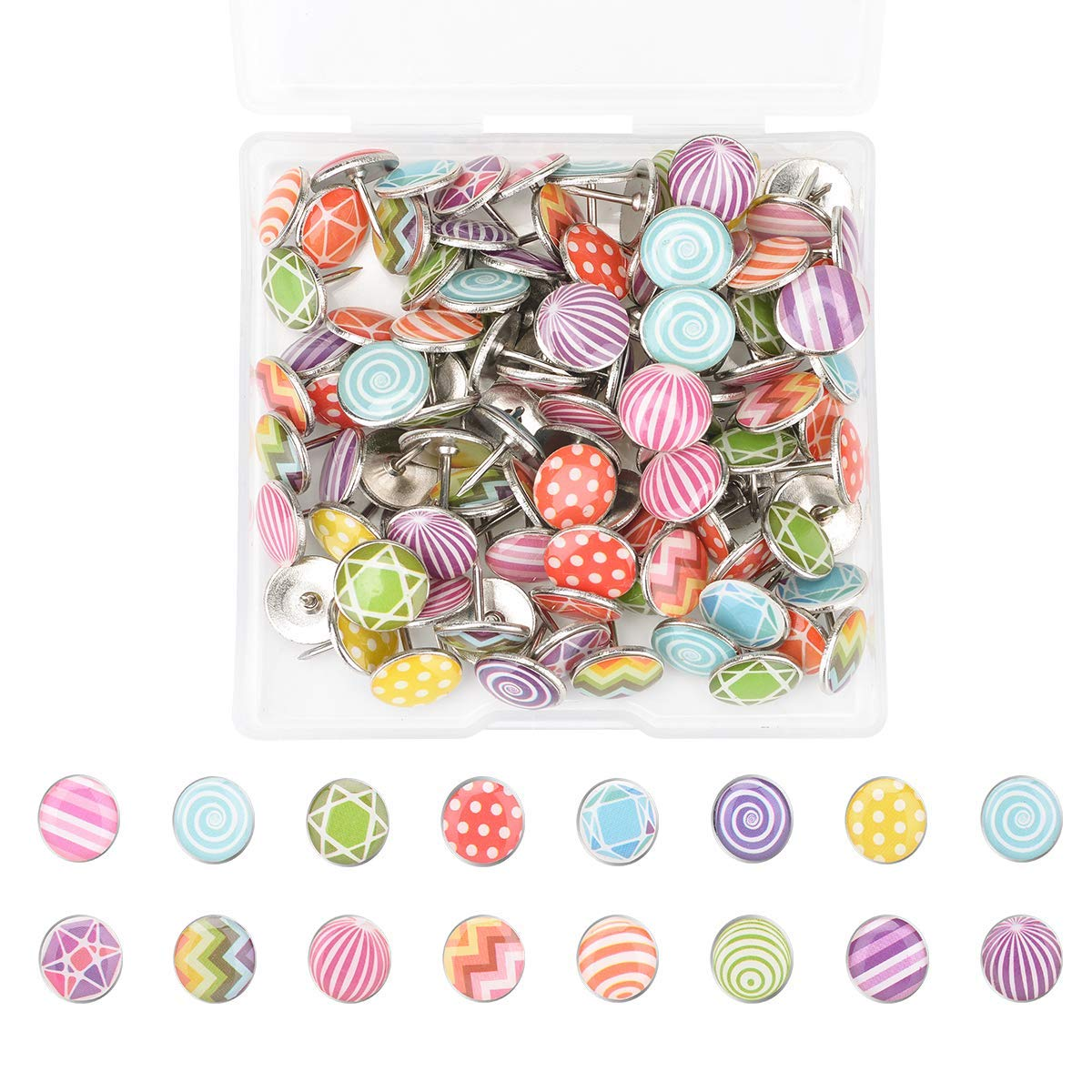 Autrix 120 Pieces Fashion Push Pins Creative Thumb Tacks for Photos Wall, Maps, Bulletin Board or Cork Boards with a Storage Box, 16 Different Patterns