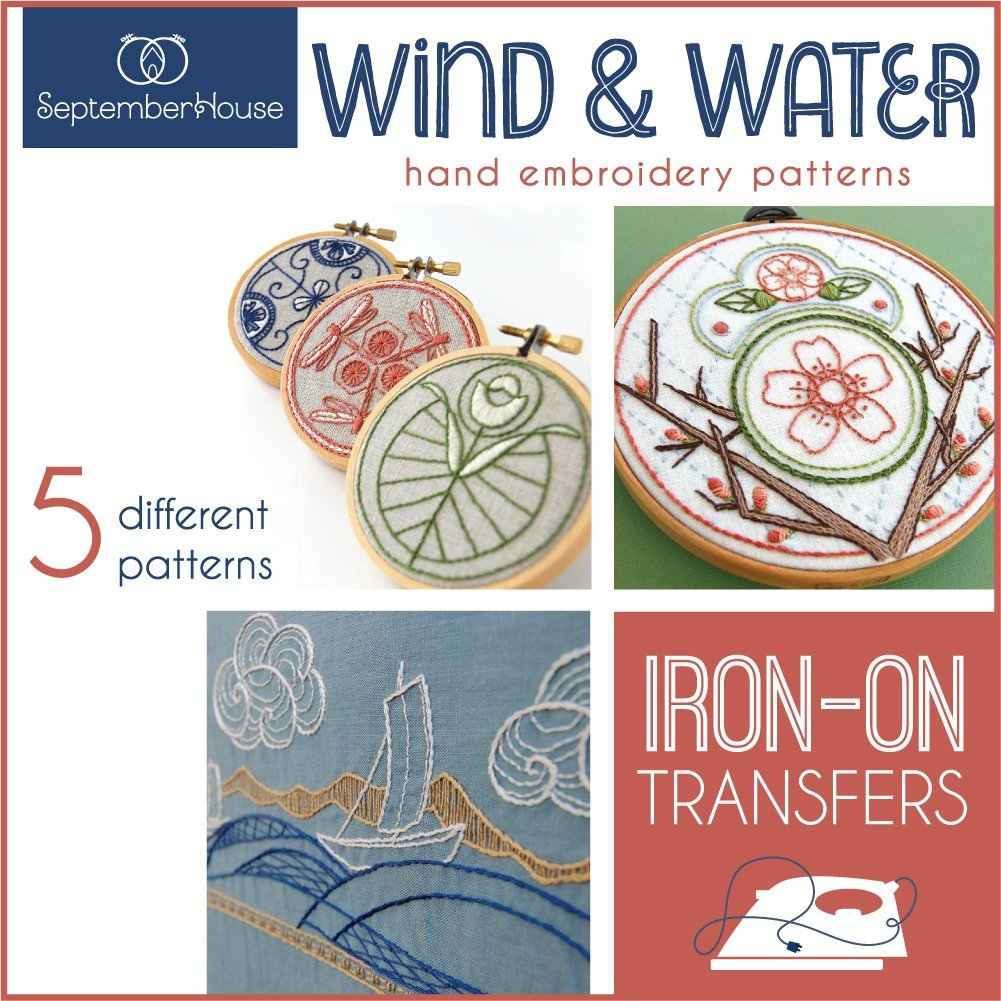Hand Embroidery Iron On Transfers Wind & Water Japanese Inspired Embroidery Patterns