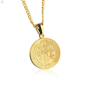 Catholicism Religion Jesus Coin Circle Pendant Christian Necklace