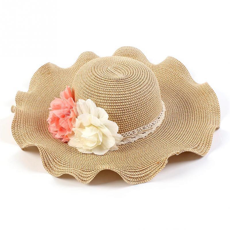 c43ff36f Wholesale New Fashion Women Foldable Straw Sunhat Flower Rolled Brim ...