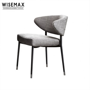 French Style Restaurant Chair Metal Frame Comfortable Velvet Fabric Upholstered Modern Design Fabric Dining Chair With Armrest