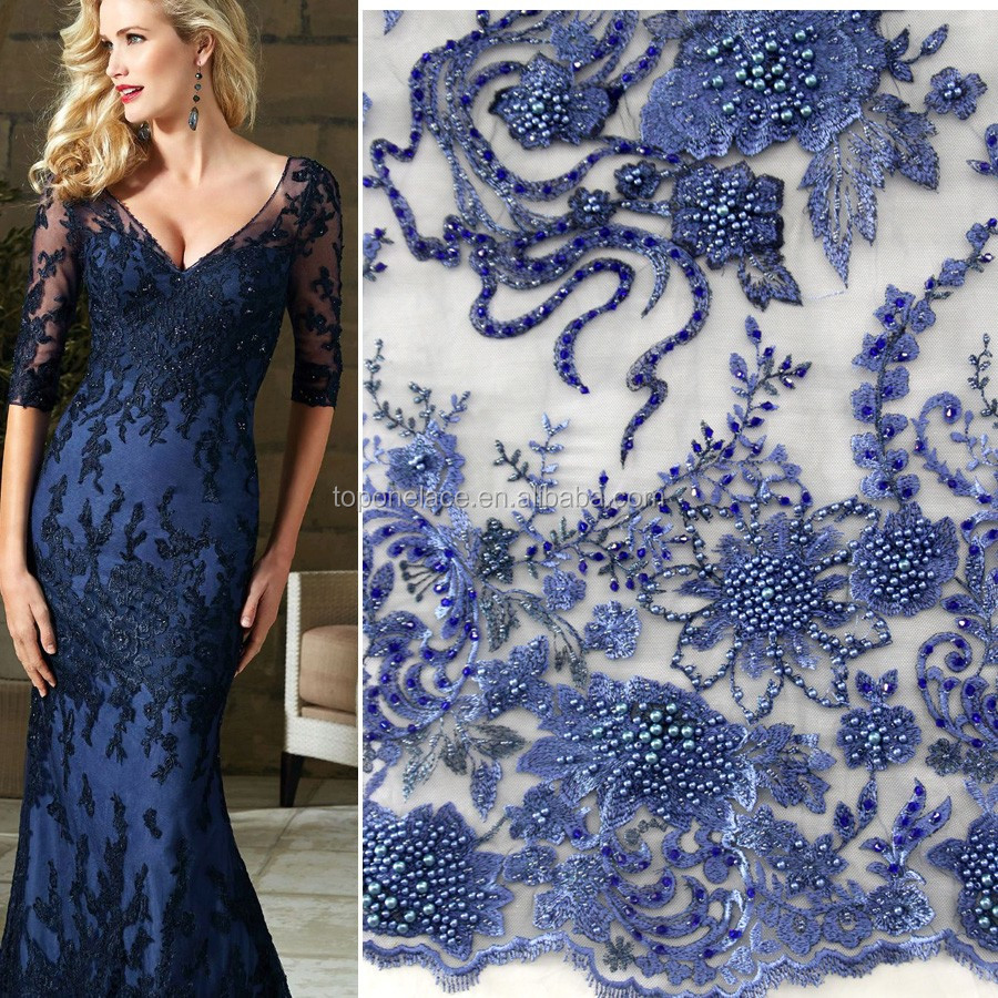 Fashion heavy beaded lace fabric 3d flower lace for French lace fabric for wedding dresses