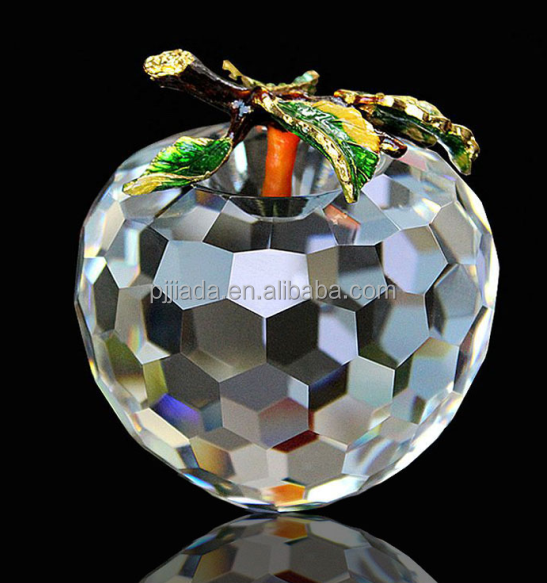 Fashionable clear crystal glass apple butterfly ornament with different colours