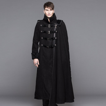 European Style Winter Gothic Coat Men Extra Long Coat With Belts