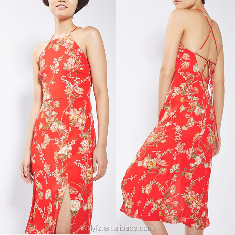Anly wholesale new arrival chinese style dress spaghetti strap floral printed chiffon midi dress for lady