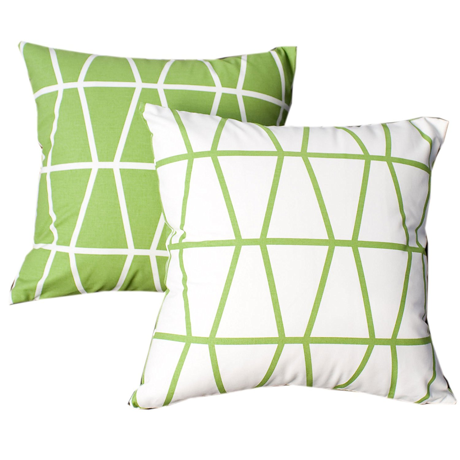 """Evei Pantheon Green Two Color Design Cotton Home Decorative Throw Pillow Case / Cushion Cover Square 16"""" 18"""" 20"""" Choice (16""""x16""""inch(40x40cm))"""