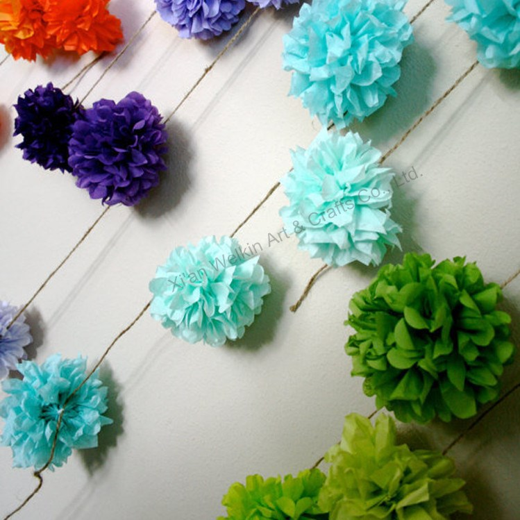 Pompons Paper Flowers Wedding Wall Decorations
