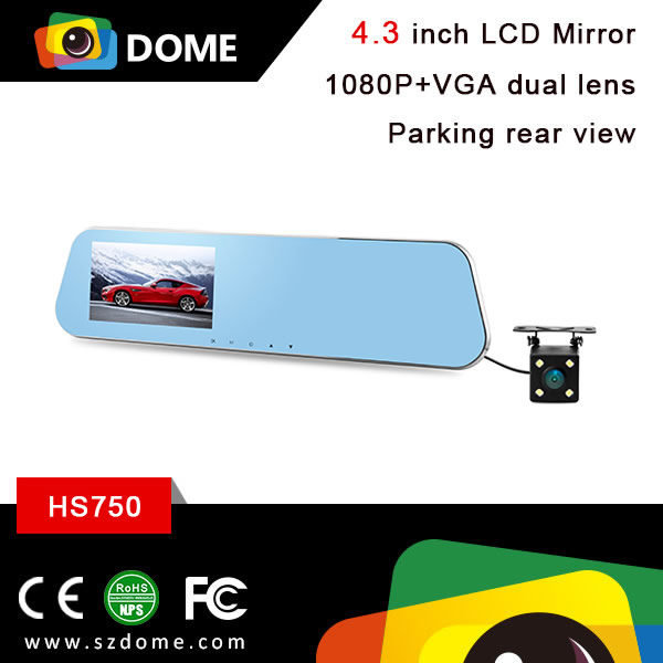 HS750 JieLi chipset 1080P car blue rearview mirror camera DVR Full HD digital dual lens car camera with 4.3 inch screen