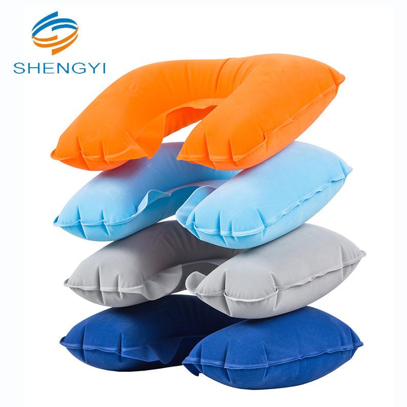 Wholesale custom travel set pillow plane u shaped camping pillow inflatable green