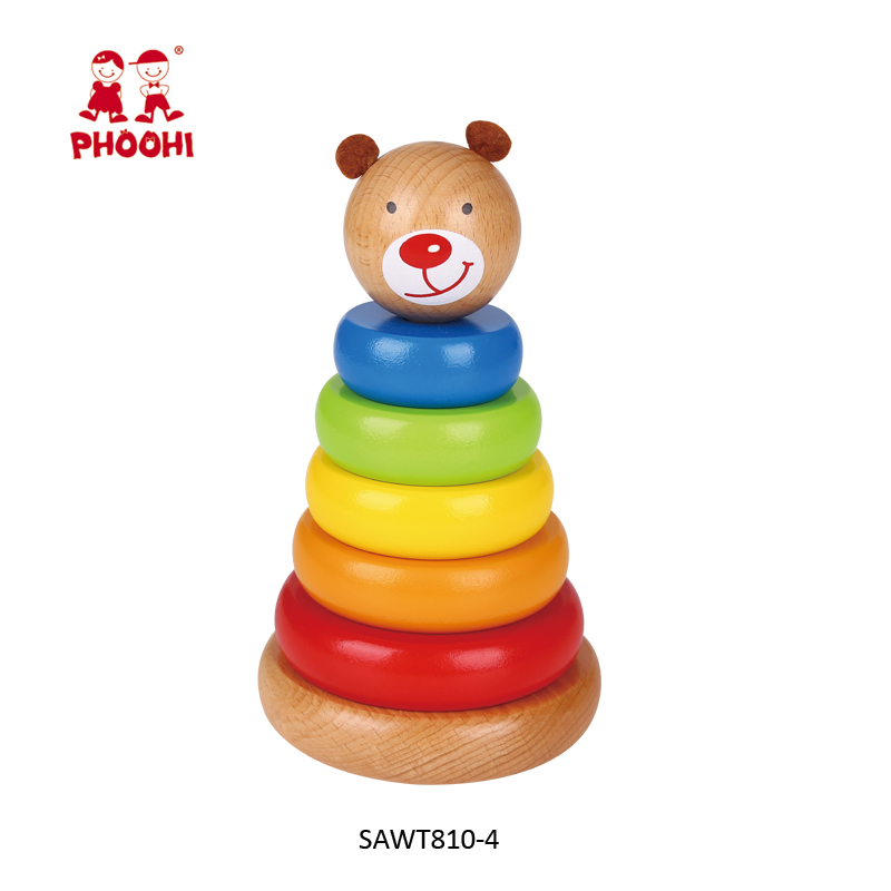 Early baby educational animal bear children wooden rainbow tower toy for kids 1+