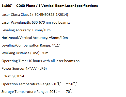 CD60 High Quality 360 Rotation Vertical and Horizontal 3D Cross Line Laser