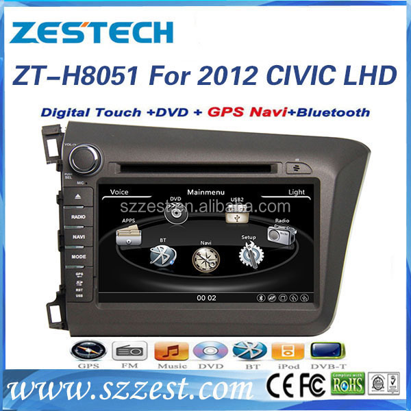 ZESTECH best price OEM Audio car for honda civic 2012 Car audio system LHD with BT gps 3g TV