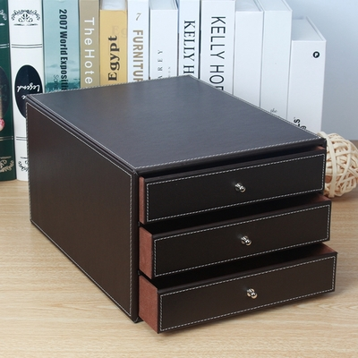 Office Accessories Concise Style Black PU Leather Desk Organizer Multifunction Wood Storage Box with Drawer
