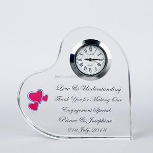 Crystal Clock Heart Shape Wedding Souvenir Gifts For Guest