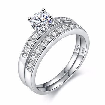 87c2832d4015 Para hombre mujer chapado en oro blanco Cubic Zirconia CZ diamante par  anillos boda banda promesa