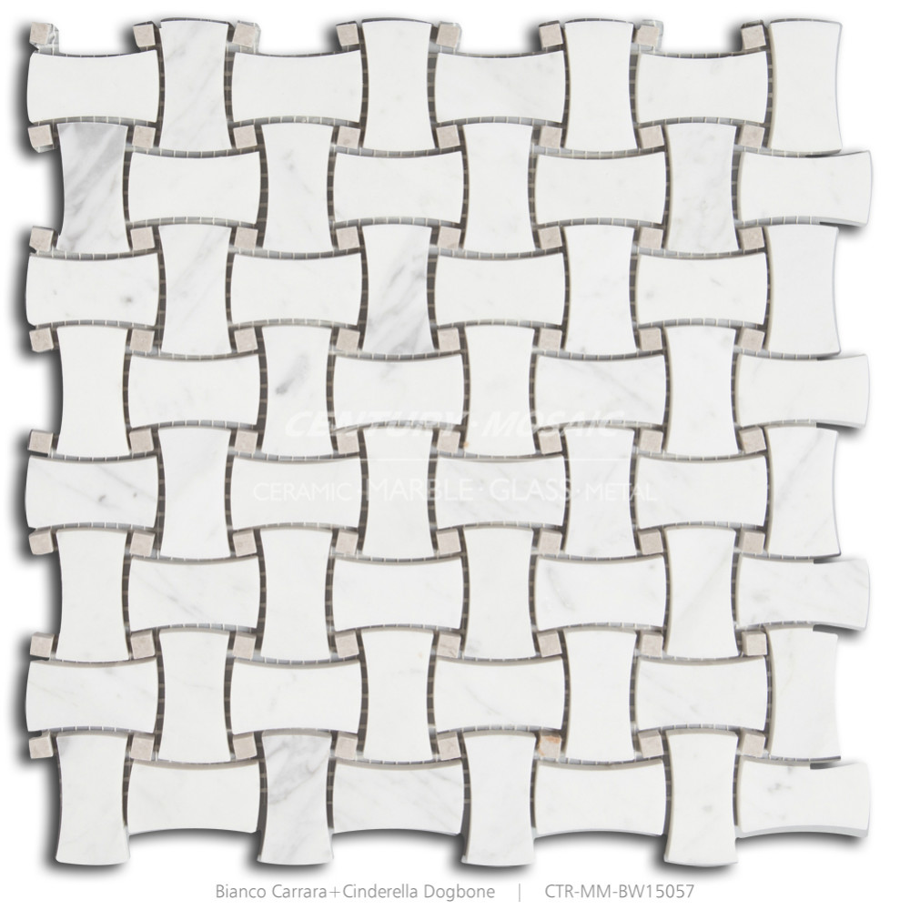 century cheap floor 1''x2'' bianco carrara & cinderella dogbone basketweave mosaic tiles