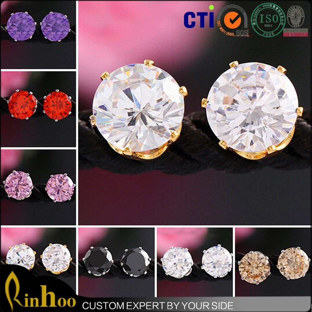 Multicolor super shine gold-plated hypoallergenic 8MM CZ stud earrings