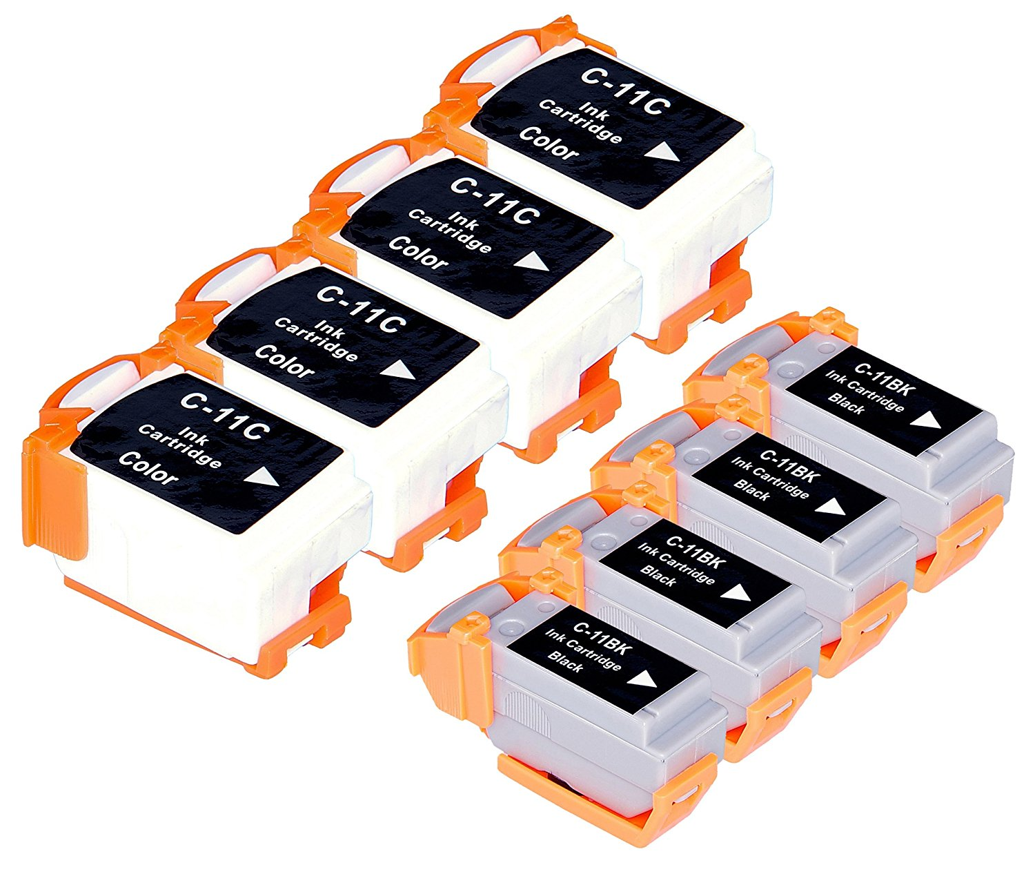 Get Quotations · 8 Pack Compatible Canon BCI-11 4 Black, 4 Tri Color for  use with