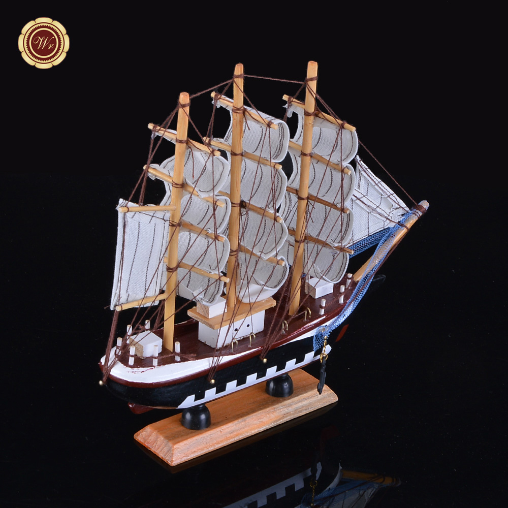 Wr collectible wooden model ship retro sailing boat boat for Ship decor home