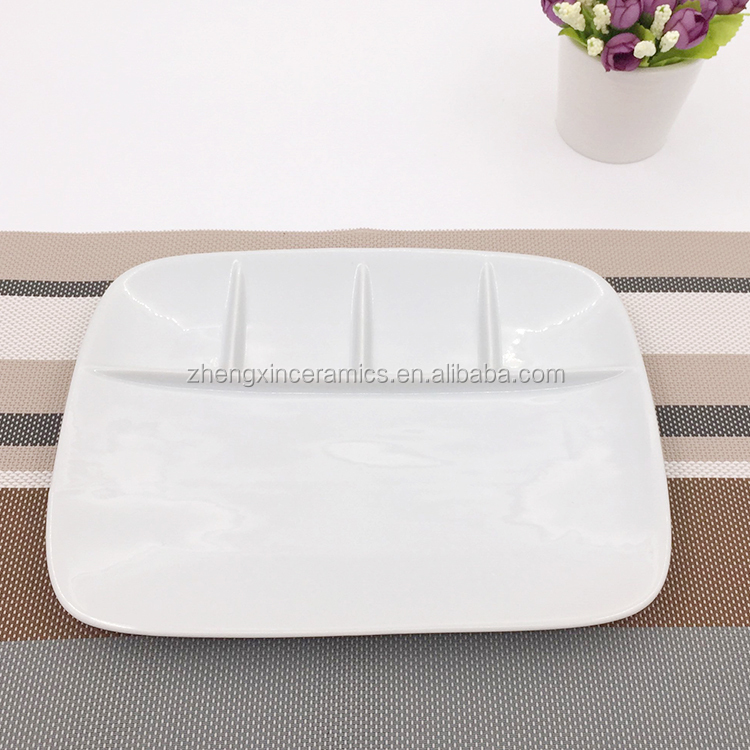 White ceramic 5 compartment food divied rectangular snack plate