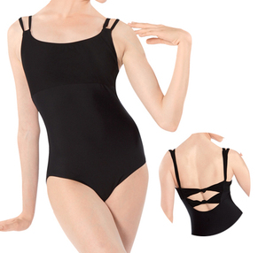 adult black leotard double cami training ballet dance leotards CS0021