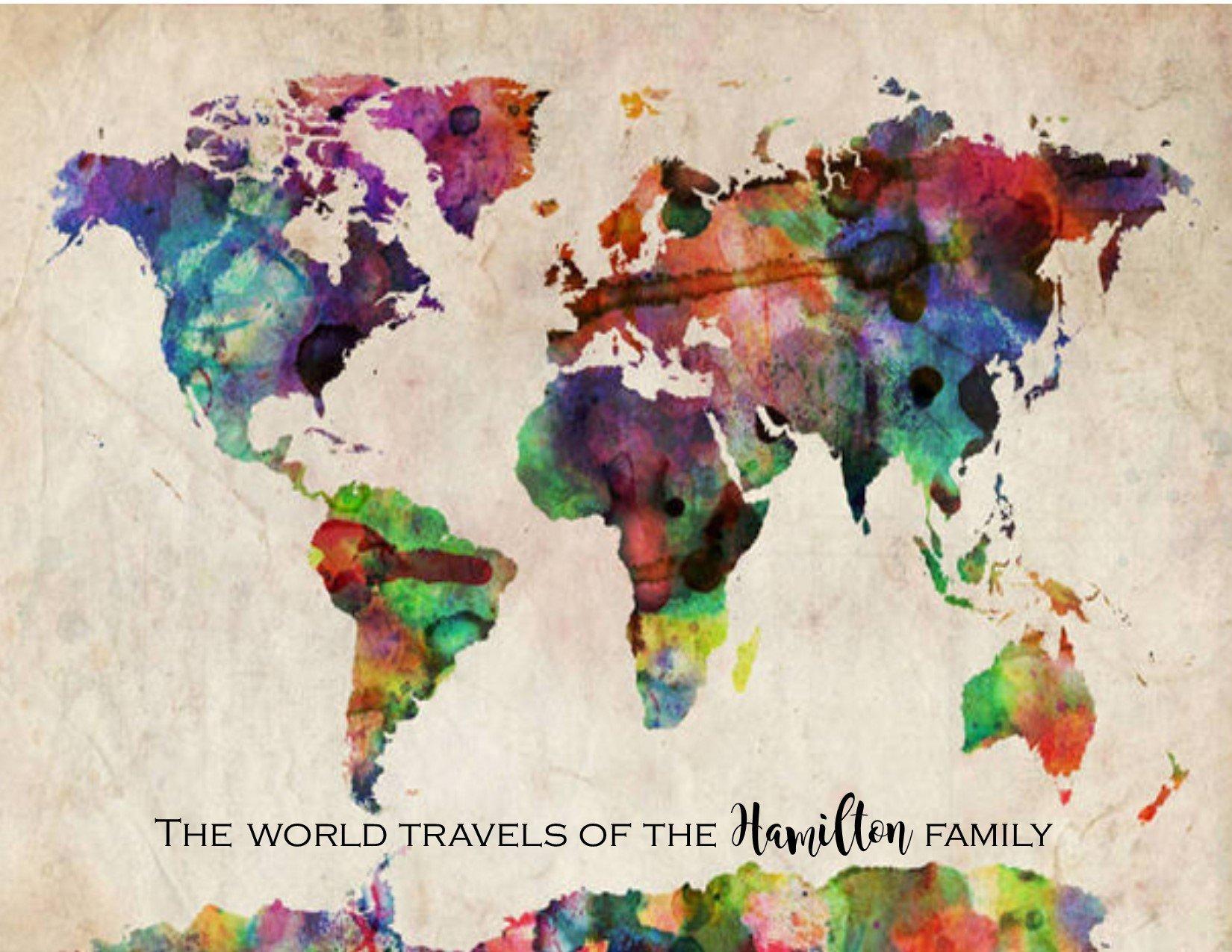 Travel Map of the World, Rainbow Watercolor Map, Push Pin Map, World Map Canvas Wall art, Large Wall Art