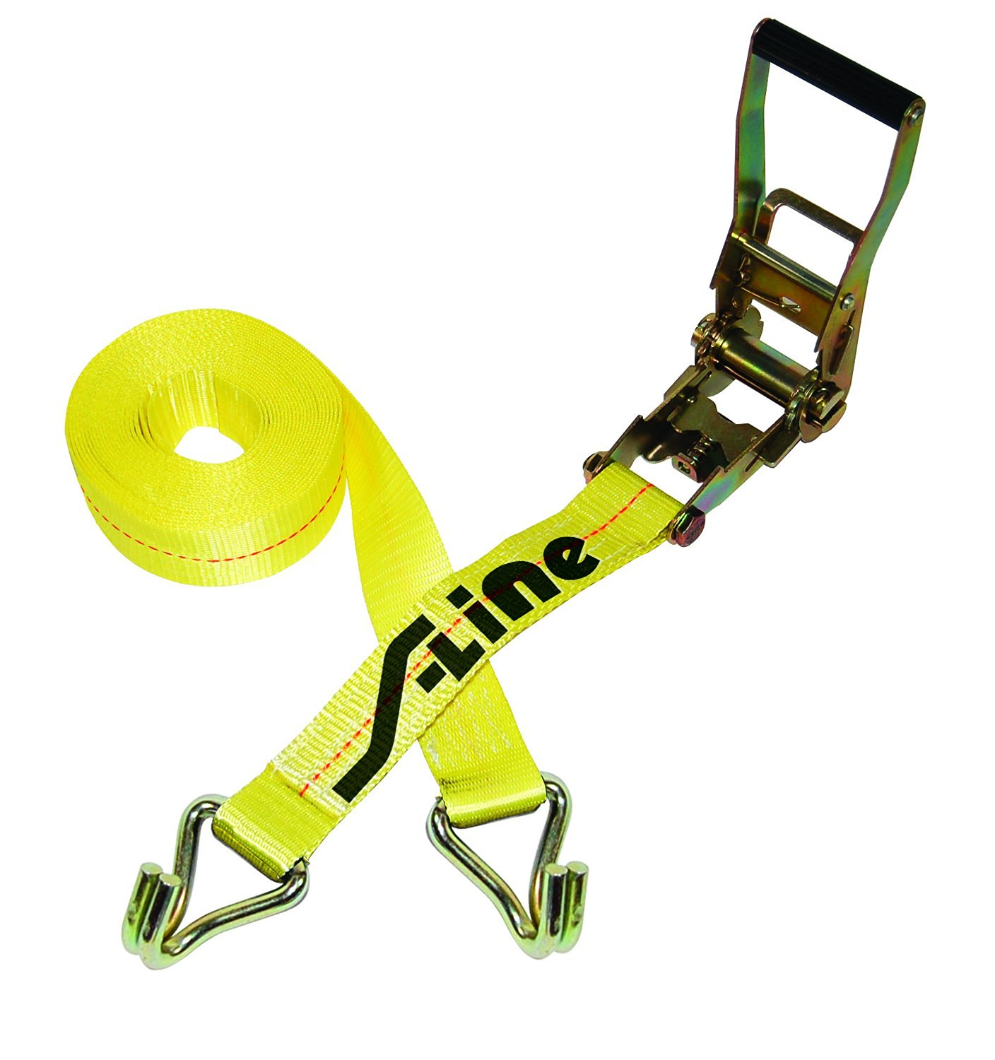 S-Line 557-15WHK Ratchet Strap Tie Down with Long Wide Handle and J-Hooks, 2-Inch by 15-Feet, 3,333-Pounds Working Load Limit