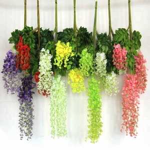 china factory artificial flower hydrangea silk wisteria rose vine mini bouquet arrangements wholesale for wedding decoration