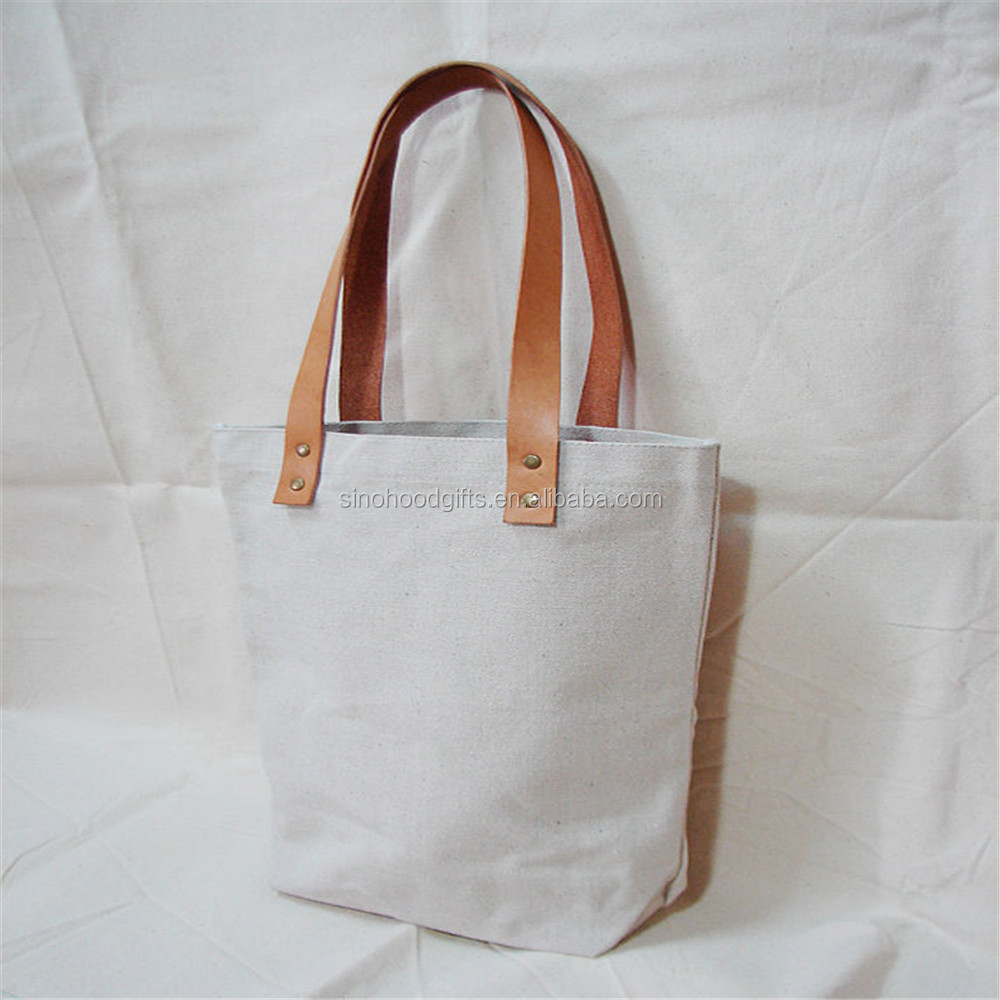 Blank Original Canvas Tote Bag Genuine Leather Handles canvas bag leather