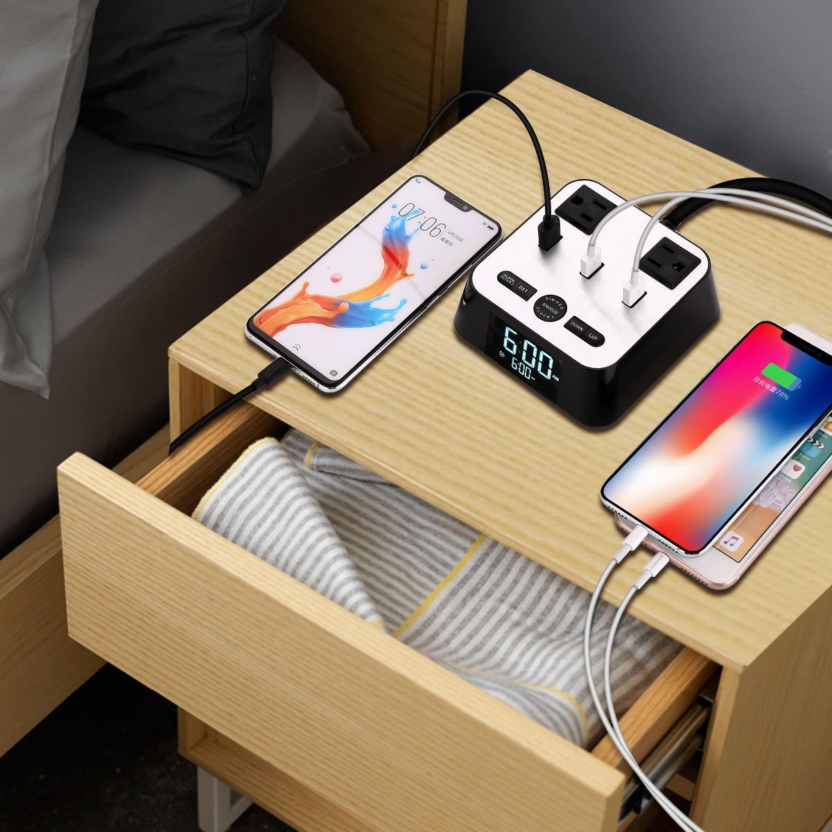 Hotel Jam USB Pengisian Stasiun Jam Alarm dengan 3 Port USB Charger dan 2 AC Outlet
