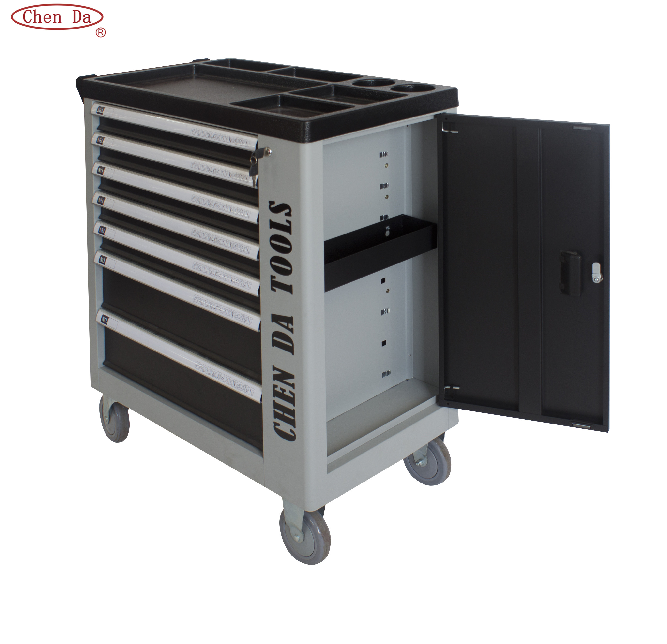 New designed 7 drawers tool box, Grey/black Color