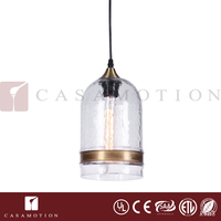 CASAMOTION Polished Brass Ring Vintage Decorative Indoor Hand Blown Art Clear Glass Ceiling Pendant Lamp