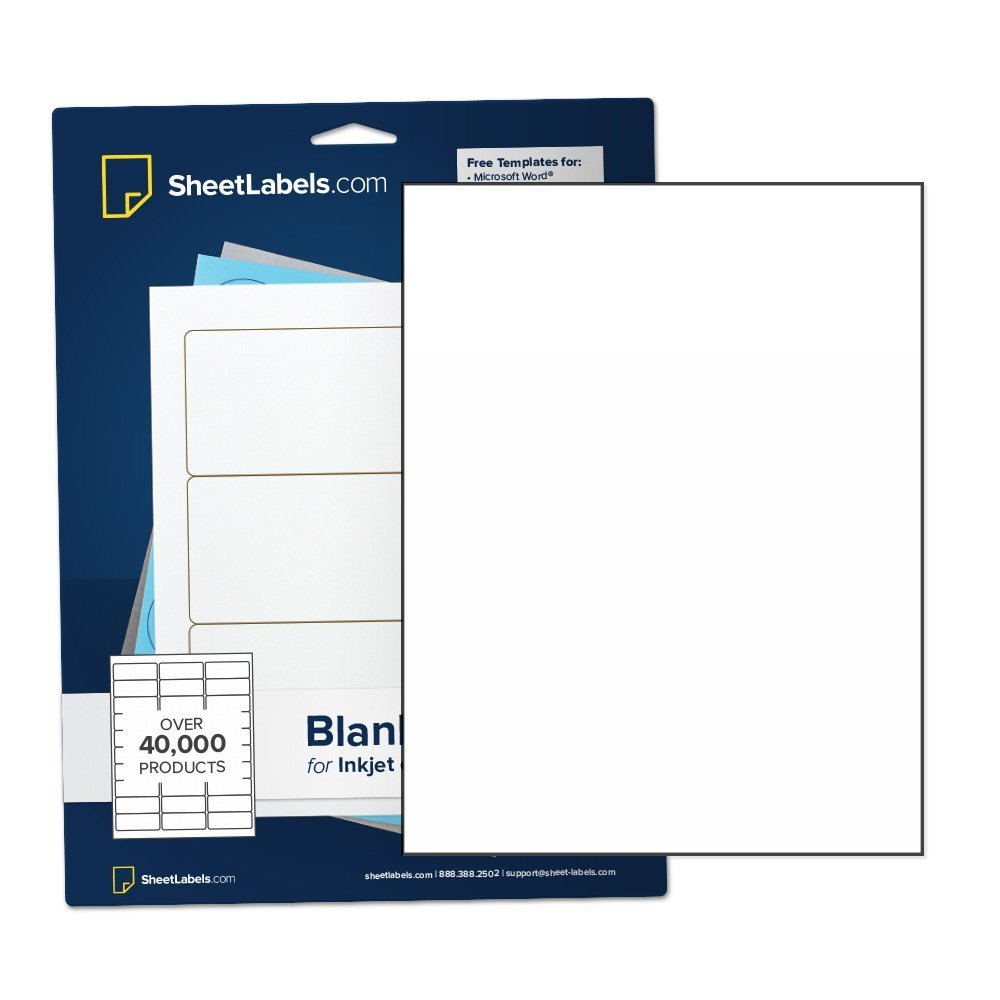 "Sticker Paper, Full-Sheet Labels, All Purpose 8.5"" x 11"" White Matte, Laser Or Inkjet Printing, No Back-Slit, 25 Labels"
