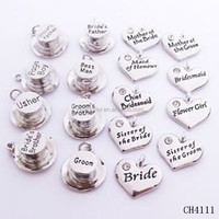 Jewelry Manufacturer Silver Top Hat Heart Shape Crystal Wedding Charm Wine Glass Charms Wholesale