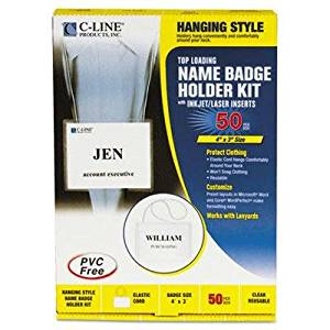 """C-Line - Badge Holder Kits Top Load 3 X 4 White Elastic Cord 50/Box """"Product Category: Labels Indexes & Stamps/Identification Badges"""""""