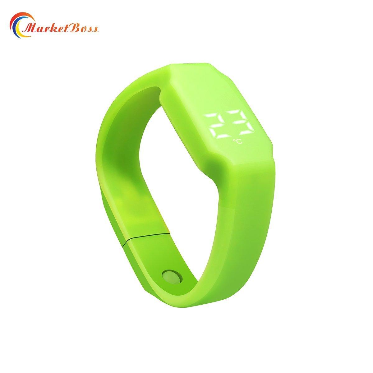 MarketBoss Cool Wrist Watch Support muilti-language 3D Sensor Data Collector/Time/Week/Temperature Display /pedometer/Calorie Counter/Sleep Monitor USB Port(green)