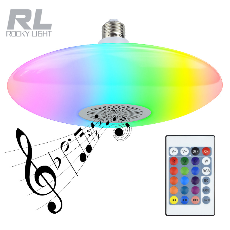 E27 16 color speaking led music <strong>bulb</strong> 25w+5w wireless bluetooth smart led lighting lamp