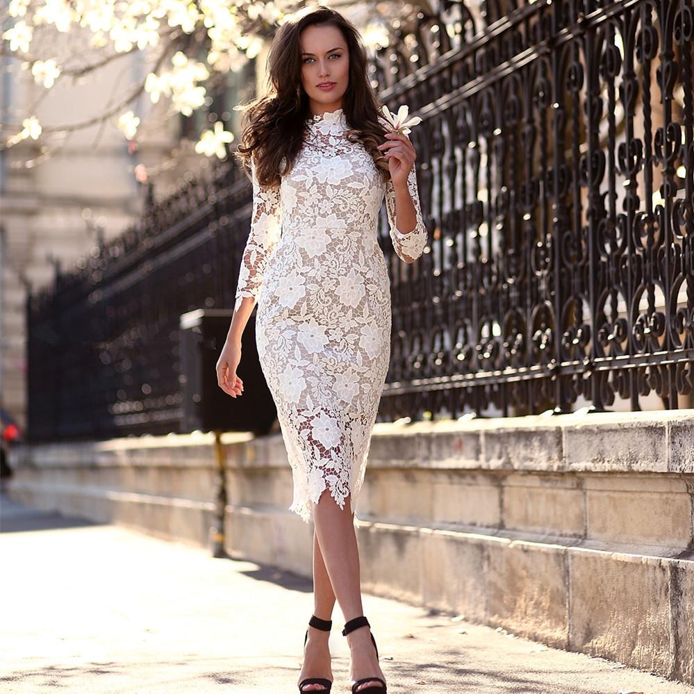 Long sleeve white summer dress