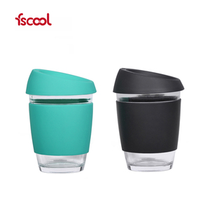 Hot Selling Fashion Heat-resistant Clear Wholesale Glass Coffee Mug/Cup With Silicone Lid