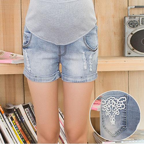 Лето беременность шорты джинсы для беременных шорты для беременных одежда джинсовые шорты регулируемый ремень калько Gestante A690