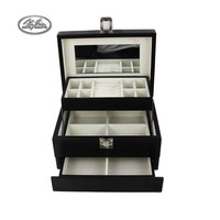 Fashion Wooden Jewelry Box Girls Mirrored Mini Black three layers Jewelry organizer